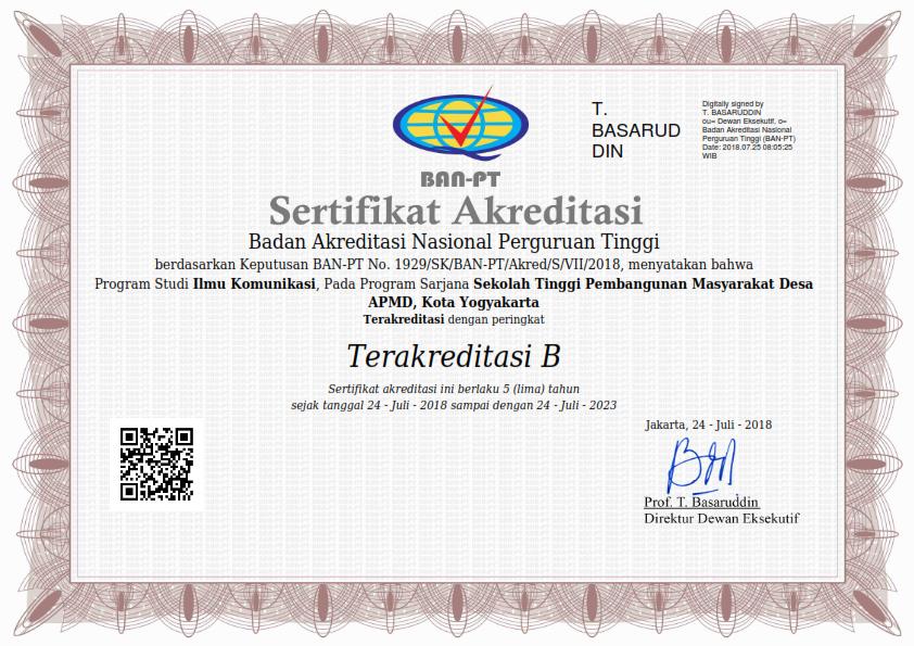 Akreditasi Prodi Ilmu Komunikasi 2018